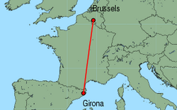 Map of route from Girona to Brussels (Charleroi)
