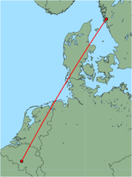 Map of route from Brussels (Charleroi) to Gothenburg (Saeve)