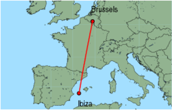 Map of route from Ibiza to Brussels (Charleroi)