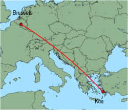 Map of route from Kos to Brussels (Charleroi)