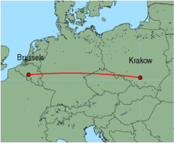 Map of route from Krakow to Brussels (Charleroi)