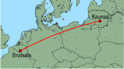 Map of route from Kaunas to Brussels (Charleroi)