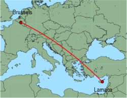 Map of route from Larnaca to Brussels (Charleroi)