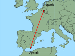 Map of route from Almeria to Brussels(Charleroi)