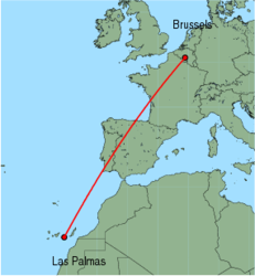 Map of route from Las Palmas to Brussels (Charleroi)