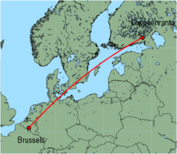 Map of route from Lappeenranta to Brussels (Charleroi)