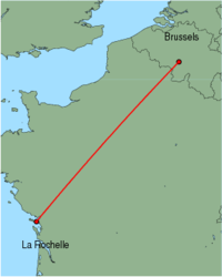 Map of route from La Rochelle to Brussels (Charleroi)