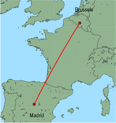 Map of route from Madrid to Brussels (Charleroi)