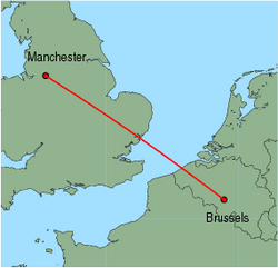 Map of route from Manchester to Brussels (Charleroi)