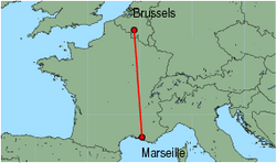 Map of route from Marseille to Brussels (Charleroi)