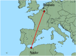 Map of route from Nador to Brussels (Charleroi)