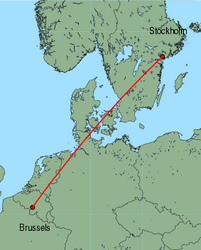 Map of route from Stockholm (Skavsta) to Brussels (Charleroi)