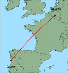 Map of route from Oporto to Brussels(Charleroi)
