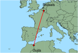 Map of route from Oujda to Brussels (Charleroi)