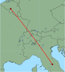 Map of route from Perugia to Brussels (Charleroi)
