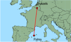 Map of route from Palma to Brussels(Charleroi)