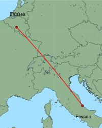 Map of route from Pescara to Brussels (Charleroi)