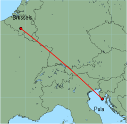 Map of route from Brussels (Charleroi) to Pula