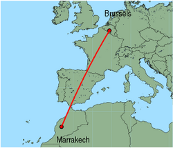 Map of route from Marrakech to Brussels (Charleroi)