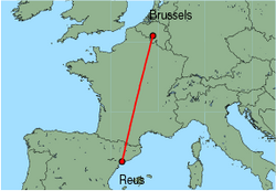 Map of route from Reus to Brussels (Charleroi)