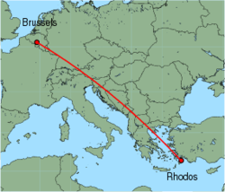 Map of route from Brussels (Charleroi) to Rhodos
