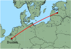 Map of route from Riga to Brussels (Charleroi)