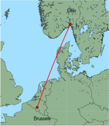 Map of route from Oslo(Rygge) to Brussels(Charleroi)