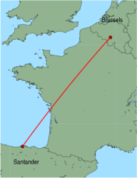 Map of route from Santander to Brussels (Charleroi)