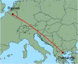 Map of route from Thessaloniki to Brussels (Charleroi)