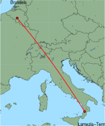 Map of route from Lamezia-Terme to Brussels (Charleroi)
