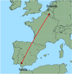Map of route from Seville to Brussels (Charleroi)