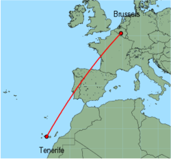 Map of route from Tenerife(Sur) to Brussels(Charleroi)