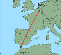 Map of route from Tangier to Brussels (Charleroi)