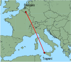 Map of route from Trapani to Brussels (Charleroi)