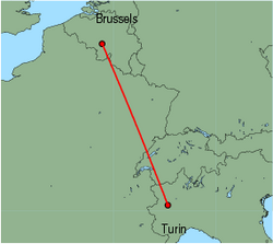 Map of route from Turin to Brussels(Charleroi)