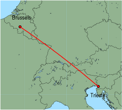 Map of route from Trieste to Brussels (Charleroi)