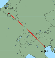 Map of route from Venice (Treviso) to Brussels (Charleroi)