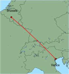 Map of route from Venice (Marco Polo) to Brussels (Charleroi)