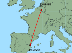 Map of route from Valencia to Brussels (Charleroi)