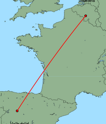 Map of route from Valladolid to Brussels(Charleroi)