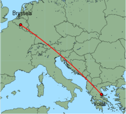 Map of route from Volos to Brussels (Charleroi)