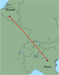 Map of route from Verona(Villafranca) to Brussels(Charleroi)