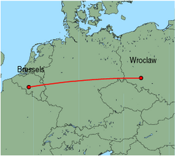 Map of route from Wroclaw to Brussels (Charleroi)