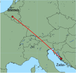 Map of route from Zadar to Brussels (Charleroi)