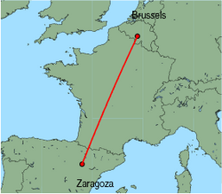 Map of route from Zaragoza to Brussels(Charleroi)