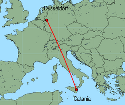 Map of route from Catania to Dusseldorf