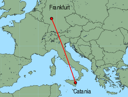Map of route from Catania to Frankfurt (International)
