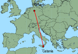 Map of route from Catania to Hanover
