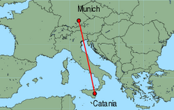 Map of route from Catania to Munich
