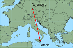 Map of route from Catania to Nuremberg
